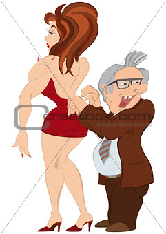 Cartoon man and girl in red dress