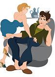Cartoon man and girl on the chair