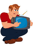 Cartoon man holding old TV