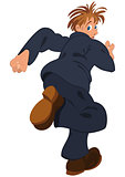 Cartoon man in blue suit running away