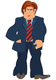 Cartoon man in blue suit with striped tie