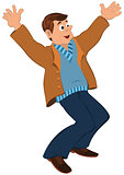 Cartoon man in blue sweater and brown jacket holding happily han