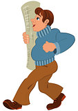 Cartoon man in blue sweater and rolled wallpaper in hand