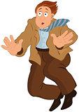 Cartoon man in brown jacket and tie falling down