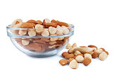 nuts d in a glass bowl isolated over white background