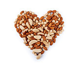 Nuts in the shape of heart isolated on a white background