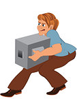 Cartoon man in brown pants with gray box