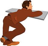 Cartoon man in brown suit back view