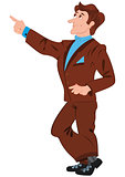 Cartoon man in brown suit pointing with index finger