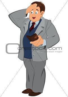 Cartoon man in gray jacket looking in to the wallet