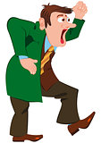 Cartoon man in green coat screaming