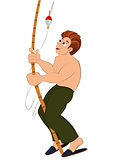 Cartoon man in green pants with fishing rod