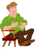 Cartoon man in green polo shirt touching stomach