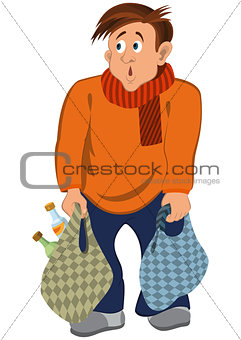Cartoon man in orange sweater and scarf with bags