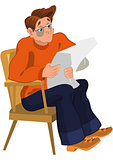 Cartoon man in orange sweater reading newspaper in armchair