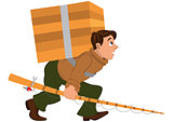 Cartoon man with fishing rod and carrying heavy wooden box