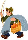 Cartoon man with fishing rod gray carpet and basket