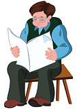 Cartoon old man reading newspaper
