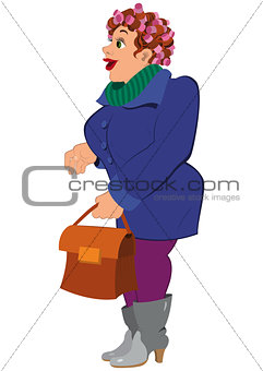 Cartoon woman in blue coat gray boots holding bag