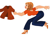 Cartoon woman in blue pants running after jacket