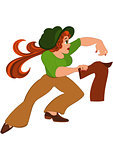 Cartoon woman in green top running after jacket