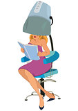 Cartoon woman sitting under blow dryer