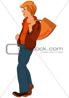Cartoon young man with orange bag over his shoulder