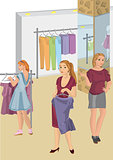 Retro girls in the store picking clothes