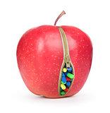 zipper apple and pills