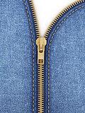 Closeup of zipper in blue jeans