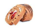 bakery dessert with jam closeup