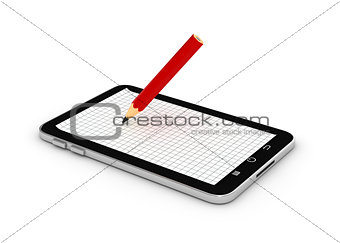 Touch screen tablet computer with blank screen and pencil