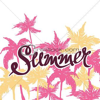 bright summer hand drawn background, vector illustration