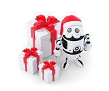 Robot with gift boxes. Christmas concept