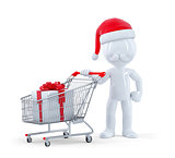 Cute 3d santa with shopping cart and christmas gift