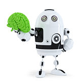 Robot holding green brain. Technology concept