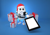 Robot Santa showing blank screen tablet computer