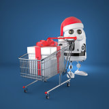 Robot Santa with shopping cart