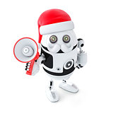Robot Santa with megaphone. Christmas concept
