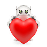 Robot holding a red heart
