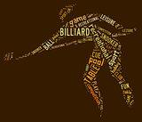 billiard pictogram with brown wordings