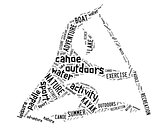 canoe pictogram with black wordings