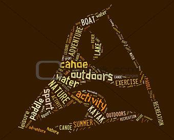 canoe pictogram with brown wordings