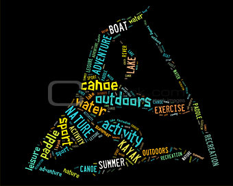 canoe pictogram with colorful wordings