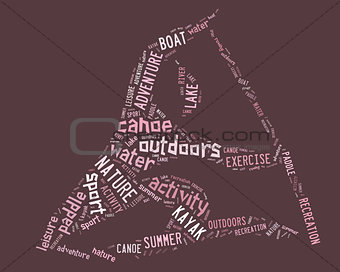 canoe pictogram with pink wordings