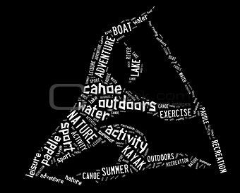 canoe pictogram with white wordings
