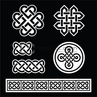 Celtic Irish patterns and braids on black background