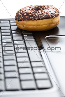 break in the  office . doughnut on laptop keyboard