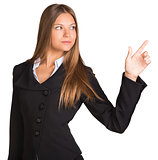 Businesswoman points finger toward