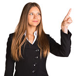 Businesswoman pointing her finger upward